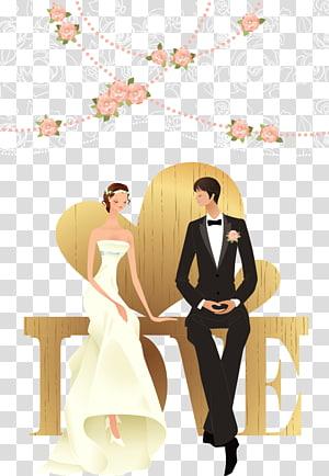 ilustrasi pengantin pria dan wanita, Pernikahan Pernikahan, Bahan pasangan pernikahan yang bahagia PNG clipart