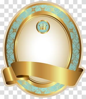 Kertas Label, Templat Label Mewah Biru, logo mahkota emas dan kuning PNG clipart