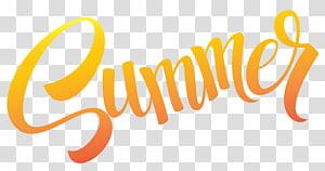 Musim Panas, Teks Sumer, teks musim panas oranye pada ilustrasi latar belakang biru PNG clipart