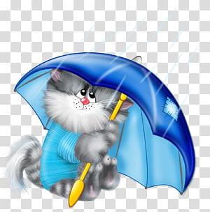 Kartun Kucing Kucing Payung, Kucing dengan Payung Gratis, kucing menggunakan karya seni payung PNG clipart