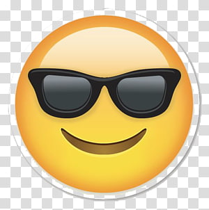 emoticon memakai stiker kacamata hitam, Emoticon Smiley Emoji, Sunglasses Emoji s png