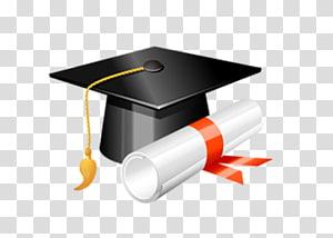 ilustrasi topi akademik dan diploma hitam, Topi akademik Wisuda Square, Wisuda Dr. cap png