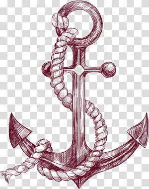 sketsa jangkar kapal, Ilustrasi Gambar Spanduk Jangkar, Sketsa jangkar png