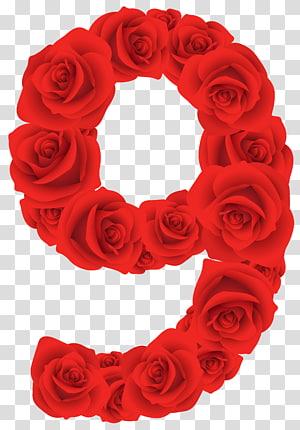 Karya seni digital 9 aksen mawar, Number Rose Red, Red Roses Number Nine png