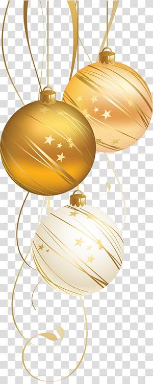 putih dan coklat perhiasan, ornamen Natal dekorasi Natal kartu Natal Tahun Baru, Golden Christmas Ball png