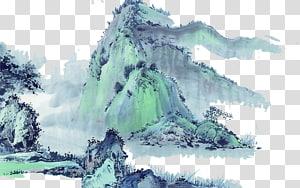 gunung salju putih dan biru lukisan, lukisan Cina Cina Landscape lukisan Ink wash lukisan, gunung png