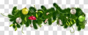 Dekorasi Natal, Hiasan Natal, Dekorasi Garland Pinus Natal, ilustrasi dekorasi bertema Natal hijau dan putih png