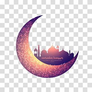 Masjid Islam Ramadhan Bulan Muslim, Bulan kreatif dan masjid bercahaya, ilustrasi bulan sabit PNG clipart