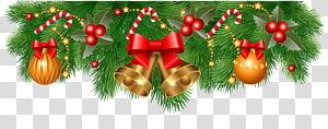 pita merah dengan grafis lonceng emas karangan bunga, dekorasi Natal Santa Claus ornamen Natal, Dekorasi Perbatasan Natal png