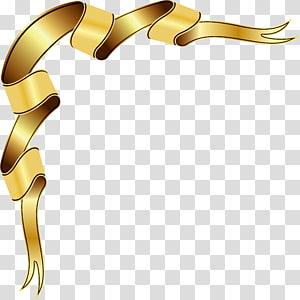 ilustrasi pita coklat, kotak teks, desain pita emas png