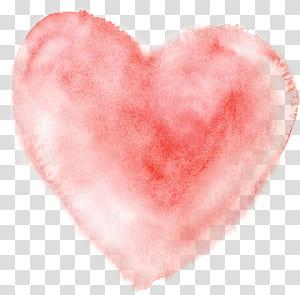 Lukisan Cat Air Jantung, Jantung Cat Air, bantal hati merah muda png
