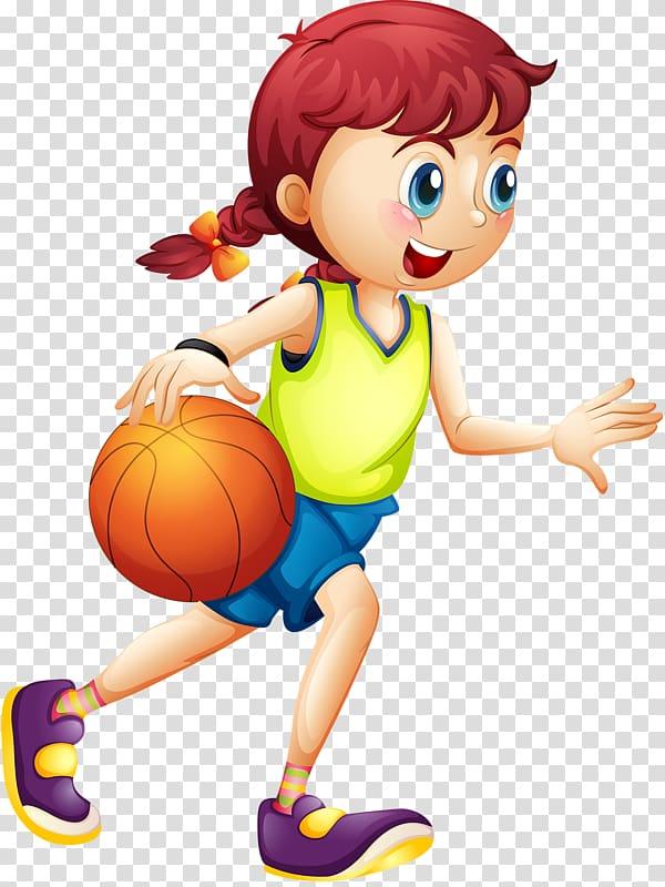 gadis dribbling bola, Basket Kartun Olahraga Wanita, kartun anak-anak PNG clipart