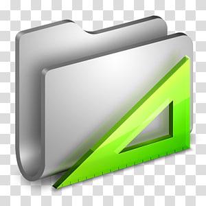 folder abu-abu dan ilustrasi penggaris hijau, ikon sudut ikon komputer, Aplikasi Folder Logam png