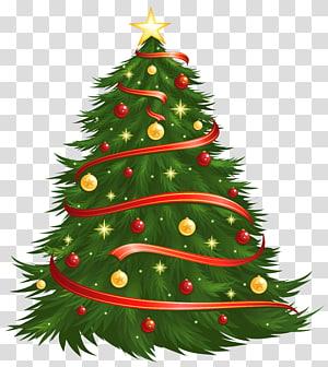 Pohon Natal, Pohon Natal Besar, Pohon Natal dengan bola merah dan kuning dan bintang PNG clipart