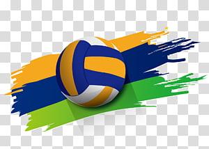 voli biru, kuning, dan putih, Poster Olahraga voli Pantai, voli png