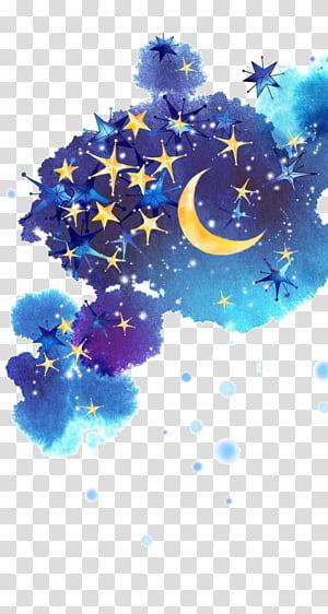 Langit Malam Bulan Bintang, Langit malam dicat, awan biru dan beraneka warna dengan ilustrasi bintang png