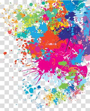 corak percikan, lukisan abstrak warna-warni png