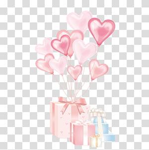 kotak hadiah merah muda dan putih dengan ilustrasi balon, Balon Hadiah Ulang Tahun, Kotak hadiah dengan balon berbentuk hati png