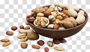 closeup berbagai macam kacang dalam mangkuk cokelat, kacang campuran Makanan Buah Kering, buah kering png