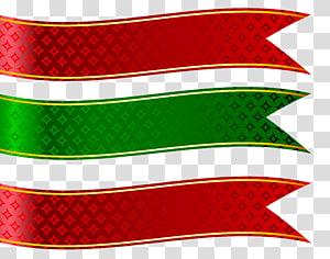 Set Spanduk Merah, Hijau dan Merah, dua pita merah dan hijau PNG clipart