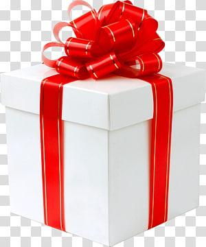 kotak hadiah putih, Hadiah Pita Merah Emas png
