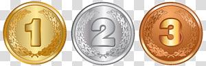 tiga kolase koin berbagai macam denominasi, medali Perak medali Perunggu, medali Emas, Medali Emas Perak dan Perunggu png