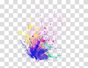 lukisan cat air warna ungu, pink, kuning, dan hijau, mengedit Sticker PicsArt Studio Paint, holi png