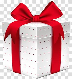 kotak putih dan merah polka-dot dan pita merah, kartu hadiah hadiah Natal, kotak hadiah putih bertitik png