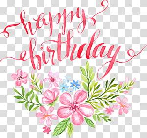 Ilustrasi kartu Ucapan Ulang Tahun Kaligrafi, Bunga Selamat Ulang Tahun surat gesper klip HD Gratis, bunga merah muda lukisan dengan teks selamat ulang tahun png