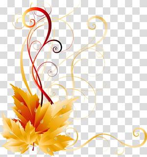 Warna daun musim gugur, Dekorasi Fall Leaves, karya seni bunga kuning PNG clipart