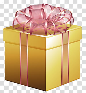 ilustrasi kotak hadiah kuning dan krem, Kotak Hadiah Emas Besar dengan Busur Merah Muda png