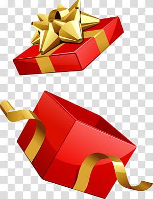 membuka grafis kotak hadiah merah, hadiah Natal Santa Claus, kotak hadiah Merah png