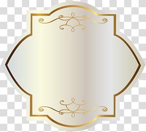 Label Stiker, Label Putih dengan Dekorasi Emas, garis perbatasan bunga berwarna emas PNG clipart