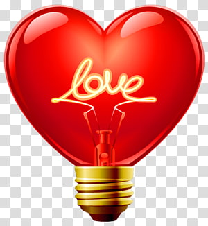 Light Heart, Love Heart Bulb, red heart bulb dengan ilustrasi overlay teks cinta png
