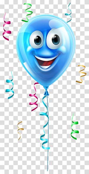 ilustrasi balon biru, Ikon Wajah Balon, Balon dengan Wajah PNG clipart