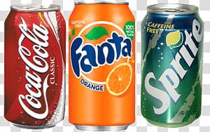 ilustrasi tiga kaleng coca-cola, fanta, dan sprite soda, minuman bersoda coca-cola, diet sprite coke, fanta PNG clipart