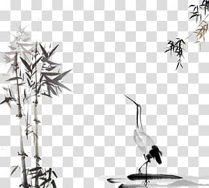 bebek dan bambu hitam, lukisan cuci tinta, lukisan angin Cina dan lukisan tinta png