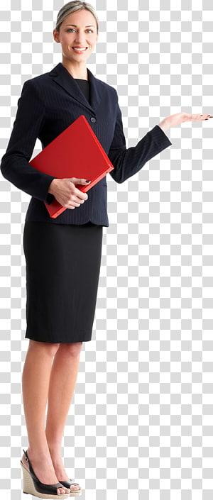 wanita tersenyum memegang ilustrasi folder merah, agen Real Estate Flyer Estate, Brosur Pemasaran, wanita pemikir png