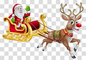 Santa Claus Natal dekorasi Malam Natal Santa suit, Natal Santa dan kereta luncur, ilustrasi Santa Claus png