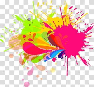 lukisan abstrak multi-warna, kuas tinta lukisan cat air, percikan cat PNG clipart