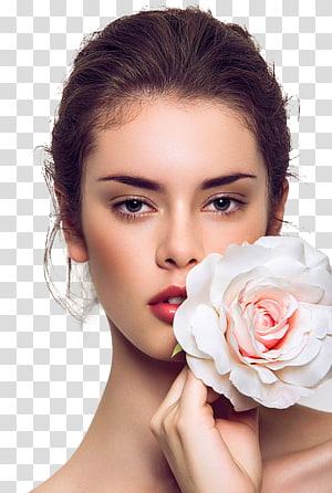 Ekstensi bulu mata Hair removal Cosmetics Perm, model cantik Eropa dan Amerika Serikat, wanita memegang mawar putih dan merah muda PNG clipart