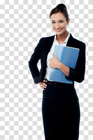 wanita mengenakan blazer hitam sambil memegang buku biru, Manajemen Sekretaris Bisnis, wanita bisnis png