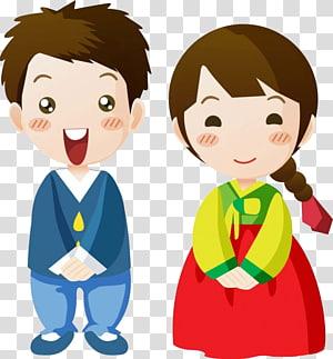 ilustrasi karakter anak laki-laki dan perempuan, Korea Selatan Kartun Korea, anak-anak Korea png