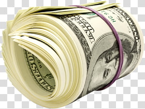 menggulung uang kertas dolar AS, Uang Dolar Amerika Serikat, uang kertas seratus dolar, gulungan dolar png