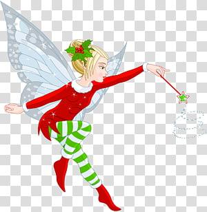 Kartun Peri Santa Claus Natal, Gadis Peri Natal, peri memegang ilustrasi tongkat sihir png