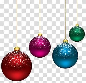 empat ilustrasi berbagai macam pernak-pernik warna, Ilustrasi Pusat Ilustrasi Desain Art Center College, Bola Bersalju Natal png