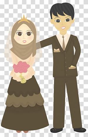 ilustrasi pria dan wanita, Doodle Wedding Drawing Muslim, gaun pengantin png