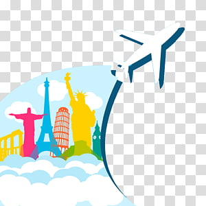 ilustrasi pesawat, Penerbangan Pesawat perjalanan udara, latar belakang poster Perjalanan Dunia Kreatif png