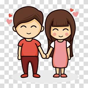 pria dan wanita memegang ilustrasi tangan, Pasangan menggambar, Pasangan kartun png