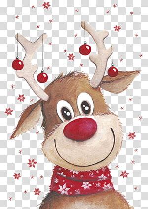ilustrasi rusa coklat, rusa Rudolph Santa Claus, rusa Santa Claus, rusa Natal png